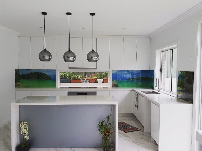 Glass printed kitchen splashback (photography)