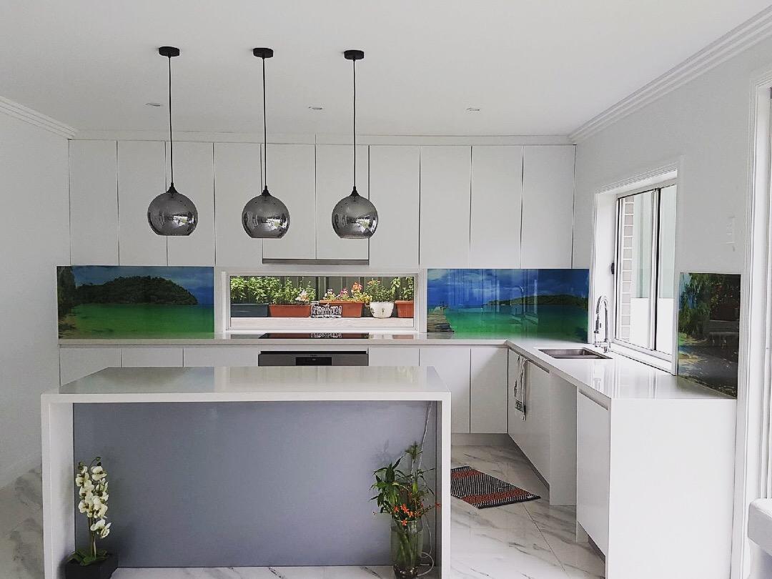 Glass printed kitchen splashback (photography)